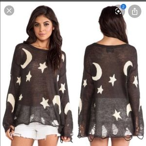 Wildfox White Label Moon Stars Lennon Sweater XS